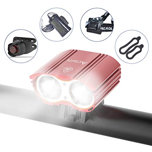 Acsin Bike Light Front and Rear, Super Bright 4 Modes Rechargeable Waterproof Durable Bicycle Front LED Light and Free Taillight with Battery Pack for Road Cycling Safety Flashlight (Red-2LED)