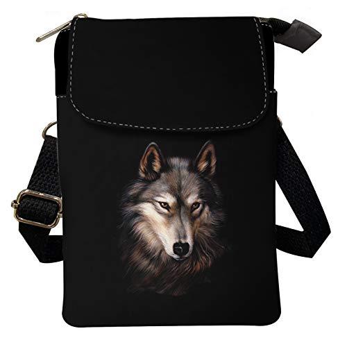 Agroupdream Bolso bandolera de lona para mujer, para hombre, diseño de lobo