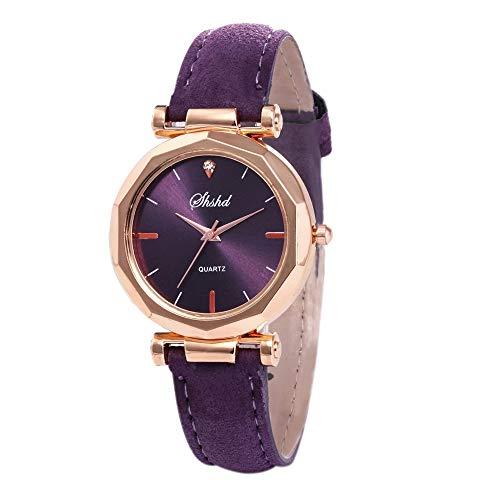 jiushixw Relojes de Mujer de Cristal de Moda Rosa Mujer Cielo Estrellado Dial Reloj de Pulsera de Cuarzo de Cuero Montre Femme 2019 Rhinestone Ladies Watch * A