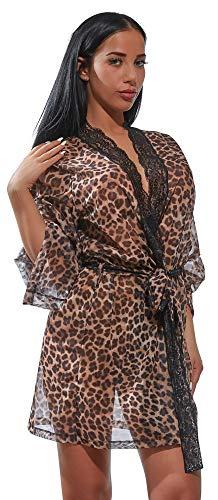 Orion Kimono - transparenter Nachtmantel für Frauen, erotischer Babydoll mit Spitze, sexy Reizwäsche, Leopardenmuster (S-L)