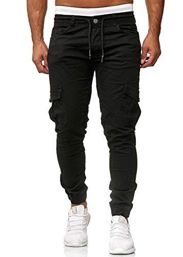 UMore Cinturón de algodón elástico de los Hombres Pantalones de Carga Largos con cordón Bolsillos Laterales Pantalones Deportivos Pantalones de Jogging Ropa Deportiva