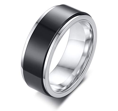 VNOX 8MM Width Two-Tone Stainless Steel Black Glossy Spinner Band Ring for Men,Size X 1/2