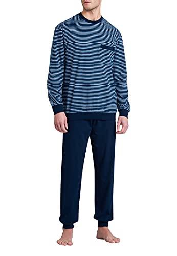 Schiesser Herren Schlafanzug lang Pyjamaset, dunkelblau, 56