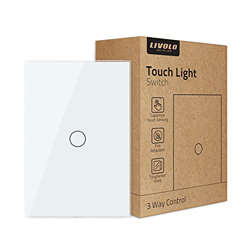 LIVOLO Light Switch, Tempered Glass Panel Touch Light Switch 1 Gang 3 Way with Indicator Light,US Standard Modern Wall Touch Switch