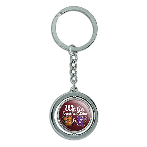 Peanut Butter and Jelly Together PB&J Best Friends Keychain Spinning Round Chrome Plated Metal