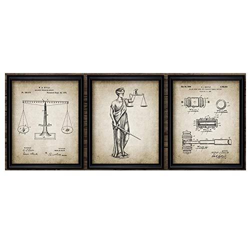 Rechtsanwalt Lady Justice Law Patent Poster Und Kunstdrucke Waage Der Justiz Anwalt GemäLde Leinwand Bild Anwaltskanzlei Wanddekor Bilder 40x60cmx3 Kein Rahmen