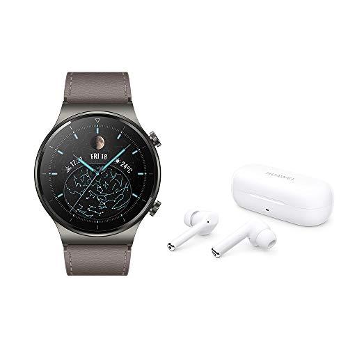 HUAWEI WATCH GT 2 Pro Montre Connectée + Freebuds 3i, Ecran AMOLED Tactile de 1.39 Pouces, 2 Semaines D'autonomie, GPS & GLONASS, SpO2, Plus de 100 Modes D'entraînement, Appels via Bluetooth, Gris