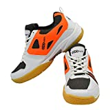 LI NING Badminton Racket G-Force 2500 White Gold with GOWIN Staunch Badminton Shoes White Orange Size from 11KIDS Upto UK10 Adults (White Orange, 1)