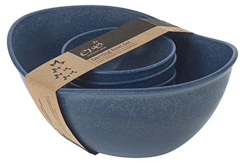 EVO Sustainable Goods Five Piece Serving Bowl Set, Blue