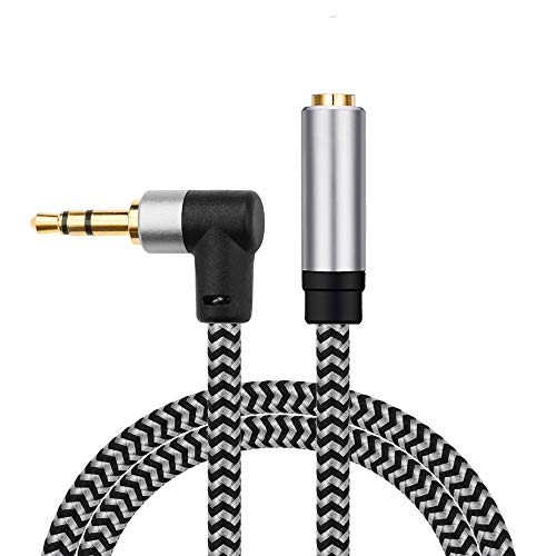 Morelecs Right Angle Aux Extension Cable 20ft 3.5mm 1/8 Aux Stereo Audio Cable Male to Female Stereo Audio Extension Adapter Cable Nylon Braided AUX Cord Compatible Phones, Headphones,Speakers,PC