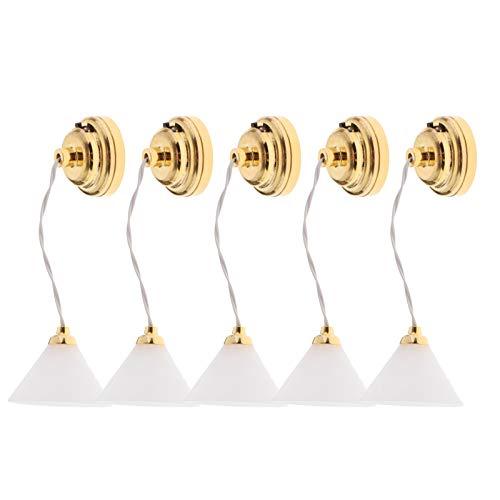 HomeDecTime 5 Piezas 1/12 Casa de Muñecas Antigua Lámpara LED de Estilo Nórdico Luz de Techo con Interruptor