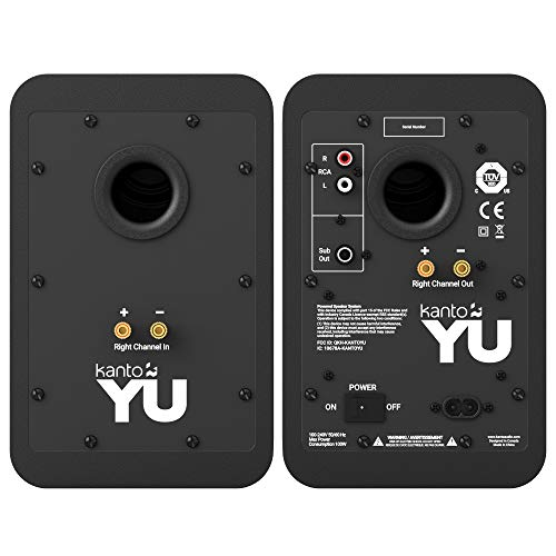 Kanto YU - Altavoces para estanterías con Bluetooth 4.2 y Entrada RCA | características detección de señal y Modo de Espera automático | Negro Mate