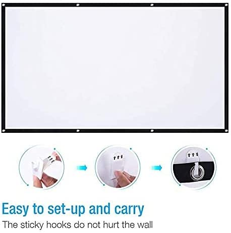 HGSDKECFS Portable Projection Screen Projector Screen,16:9 HD Foldable Anti-Crease Portable Projection Movies Screen for Home Theater Outdoor Indoor