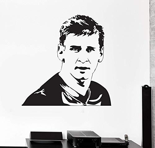 Vinilo adhesivo de pared super estrella jugador de fútbol Lionel Messi deportes fútbol FC Barcelona mural cartel niño dormitorio decoración niños regalo