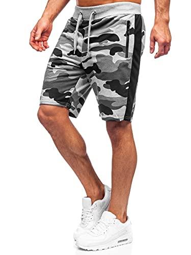BOLF Herren Kurze Sporthose Motiv Print Shorts Bermudas Trainingshose Fußballhose Fitnesshose Short Hose Army Motiv Camo Sweathose Stretch Freizeithose Street Style K10037 Grau XL [7G7]