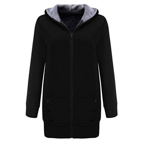 ZKOO Femmes Chaud Velours Sweats à Capuche Hiver Toison Veste Long Sweat-Shirt Solide Couleur
