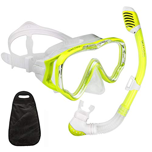 WACOOL Snorkeling Snorkel Package Set for Kids Youth Junior, Anti-Fog Coated Glass Diving Mask, Snorkel with Silicon Mouth Piece,Purge Valve and Anti-Splash Guard. (Yellow)