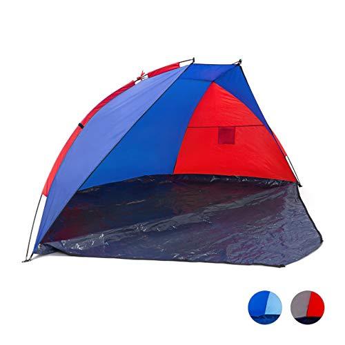 Relaxdays Strandmuschel verschließbar, HxBxT: 120 x 270 x 120 cm, mit Tasche, UV-Schutz 80, Strandzelt, dunkelblau-rot