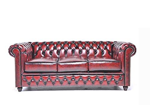 The Chesterfield Brand -Sofá Chester Brighton Rojo Gastado -3 plazas -Hecho artesanal en cuero natural