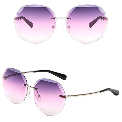 Ashtray Gafas de Sol graduadas para Mujer, Gafas de Sol sin Montura de Metal con Bordes Cortados, adecuadas para Conducir, Correr, Andar en Bicicleta, Viajar, etc,7