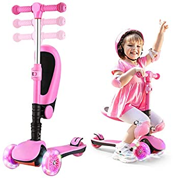 AOODIL Scooter for Kids 2-12 Years Old with Foldable Seat Extra-Wide PU 3 Wheels with LED Flashing Kick Scooter for Toddlers Boys & Girls