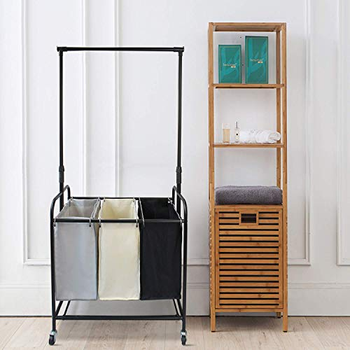Todeco Laundry Sorter Cart 3-Bag Laundry Hamper Basket with Removable Hanging Bar, 3-Section Heavy Duty Rolling Laundry Organizer Sorter Bin with Wheels for Dirty Clothes Storage