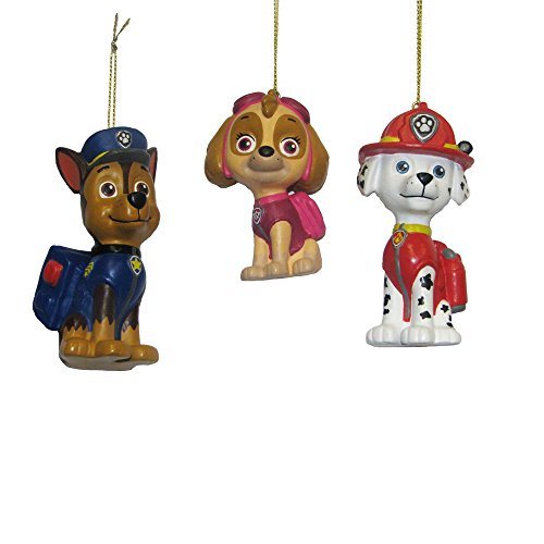Kurt Adler Paw Patrol Blow Mold Ornament (Set of 3), 3 to 3.5'