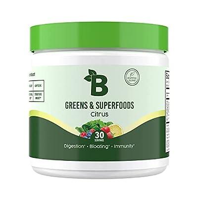 Bloom Nutrition Green Superfood   Super Greens Powder Juice & Smoothie Mix   Complete Whole Foods (Organic Spirulina, Chlorella, Wheat Grass), Probiotics, Digestive Enzymes, & Antioxidants (Citrus)