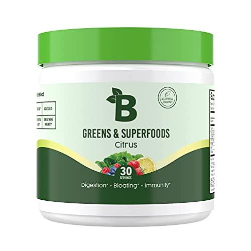 Bloom Nutrition Green Superfood | Super Greens Powder Juice & Smoothie Mix | Complete Whole Foods (Organic Spirulina, Chlorella, Wheat Grass), Probiotics, Digestive Enzymes, & Antioxidants (Citrus)