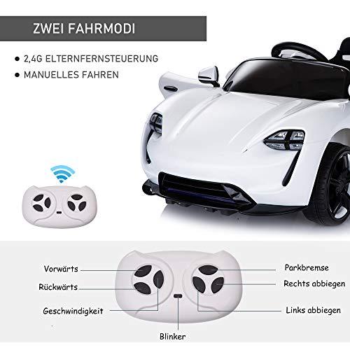 RC Auto kaufen Kinderauto Bild 2: HOMCOM Kinderauto Elektroauto Kinderfahrzeug Kinderwagen mit Fernbedienung Weiß L115 x B65 x H50 cm*