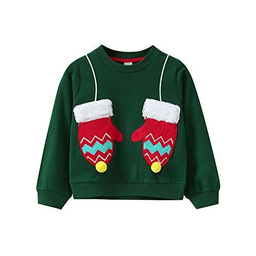 BaZhaHei Sweat-Shirt de Noël Bébé Fille Garçon Col Rond Gant de Sapin de Noël Rudolph Elk Enfants Manches Longues Vêtements de Automne Hiver pour 2-11 Ans(7-9 Ans,a-Vert)