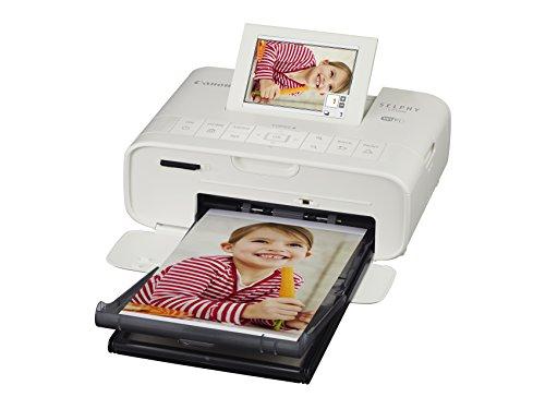 Canon Selphy CP1300 Fotodrucker 10x15 cm (mobiler Drucker, WLAN, USB, 300 300 dpi, optionaler Akku, Farbdisplay, Speicherkartenslot, Apple AirPrint, Passfotodruck, Postkartendruck), weiß