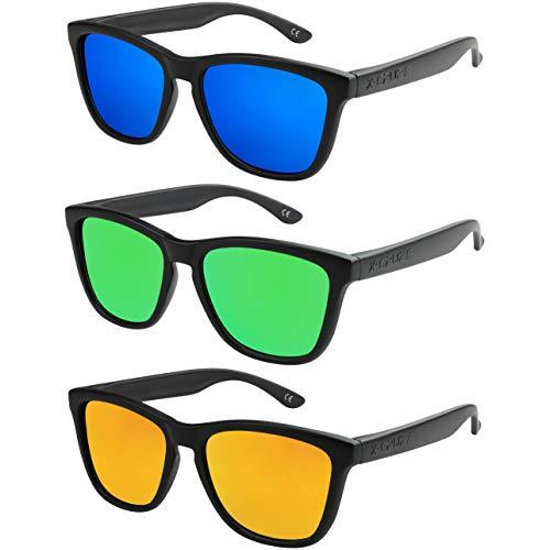 X-CRUZE - Pack de 3 gafas de sol polarizadas estilo Retro Vintage Unisex Caballero Dama Hombre Mujer Gafas - negro mate - Set 3 -