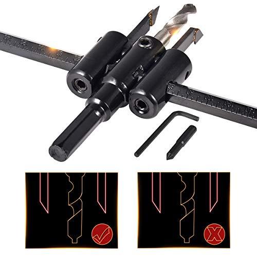 HOHXEN Standard-Kreisschneider, verstellbar, 2.5 cm bis 19.8 cm, strapazierfähig, für Holzlochsäge, Kreissäge, Holzarbeiten, Drehloch, Heimwerker-Werkzeuge, Schnittdurchmesser: 30 mm - 200 mm