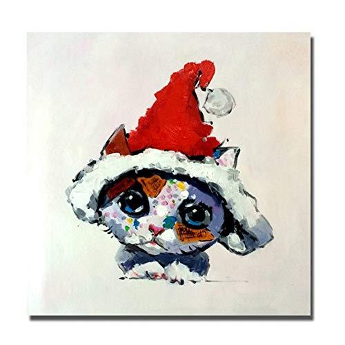 sjkkad Dierlijke schattige katjes dragen een kerstmuts muurschilderingen op canvas geschilderd schilderij cadeau voor kinderkamer decoratie -50x50cm zonder lijst