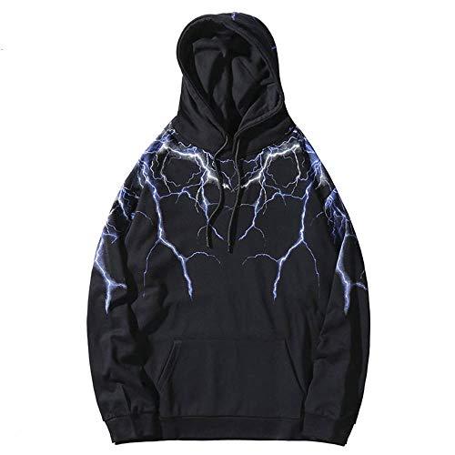 Hip Hop Lightning Hoodie Sweatshirt Männer Harajuku Streetwear Hooded Pullover Baumwolle Herbst Loose Hoodie Hiphop Hipster Schwarz