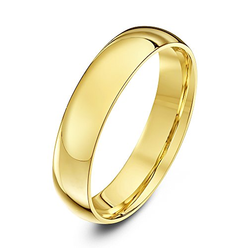 Theia Unisex Heavy Court Shape Polished 9 ct Yellow Gold 4 mm Wedding Ring - Size U