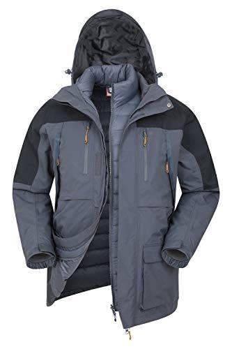 Mountain Warehouse Doudoune 3 en 1 Correspondent Homme - Manteau d hiver rembourré, Imperméable, Respirant, Capuche Amovible, Poches - pour la Marche Bleu M