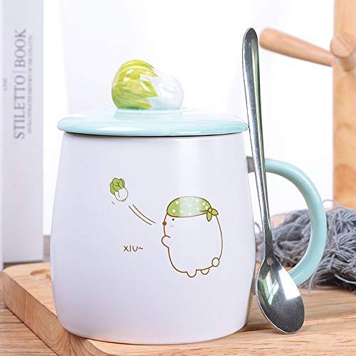 HRDZ Taza de cerámica Creativa Taza de Personalidad Linda Femenina con Tapa Cuchara Dibujos Animados Pareja café Taza de Leche