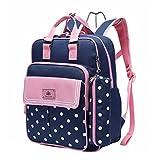 Set de 2 mochilas escolares ergonómicas, con estuche (rosa/azul)