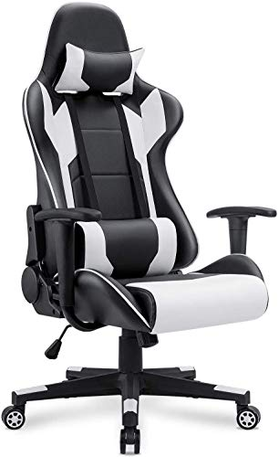 CHENNA Gaming Chair Computer Gaming Chair with Footrest, PU Leather Reclining Ergonomic Backrest, Home Office Chair with Headrest and Lumbar Support