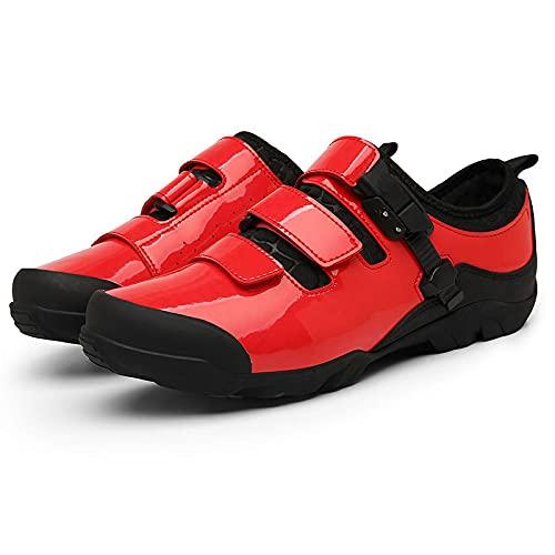 KUXUAN Calzado de Ciclismo Hombre Mujer sin candado, Antideslizante y Resistente al Desgaste Calzado de Bicicleta de Carretera para Carreras en Interiores y Exteriores,Red-42EU