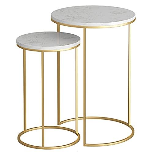 WUDAXIAN Tavolino da caffè Set di 2 tavolini ad Incastro Tavolino Rotondo Moderno in Finto Marmo per Soggiorno e Piccoli spazi, Ripiani Aperti