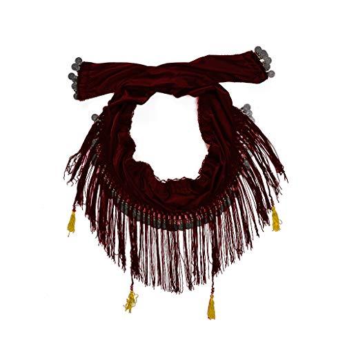 VIccoo Bufanda de la Cadera de la Danza del Vientre Franja de la Correa de la Franja Tribal con el Traje de Adulto de Las Monedas de Cobre - Rojo purpurino