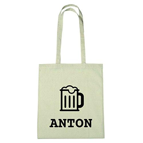JOllify Baumwolltasche - Happy Birthday für ANTON - Bier Gruß