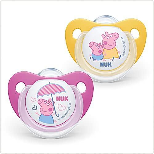 NUK Peppa Pig Trendline Silikon-Schnuller, kiefergerechte Form, BPA frei, 18-36 Monate, 2 Stück, gelb/rosa