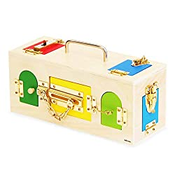 【MONTE Kids】モンテッソーリ教具 -- かぎ箱 -- Montessori 知育玩具教具 幼児早期教育 モンテキッズ 算数 おもちゃ 本格教材 -- かぎ箱