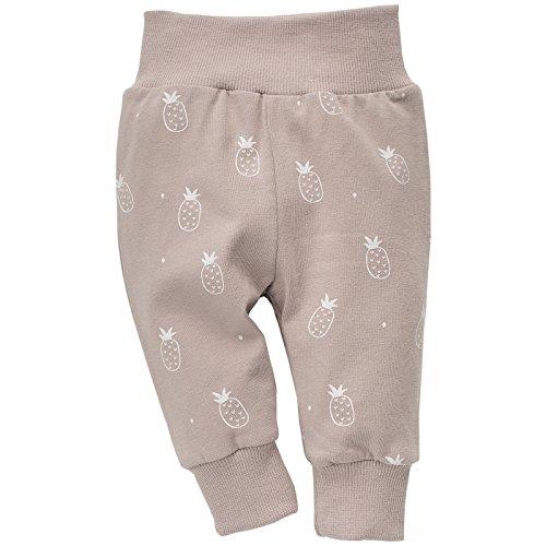 Pinokio - Leon - Baby Hose Mädchen Jungen 100% Baumwolle, Beige mit weiß Ananas- Jogginghose, Schlafhose, Leggins - elastischer Bund,...