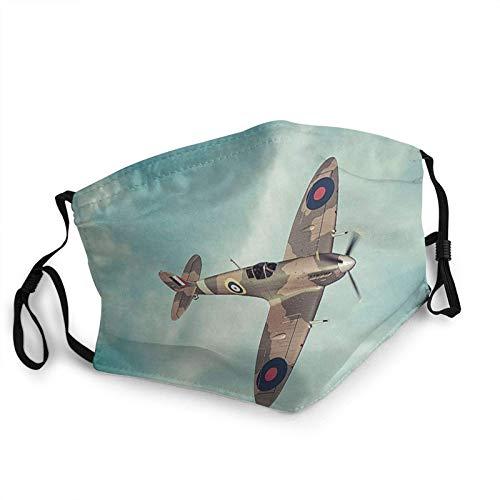 Classic Supermarine Spitfire Raf Máscara de borde para adultos, protección facial portátil, bandana, borde elástico, pasamontañas