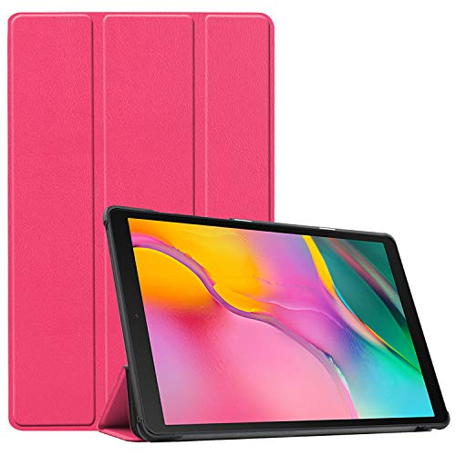 INSOLKIDON Compatible with Samsung Galaxy Tab A7 2020 SM-T500/T505 10.4 Tablet Case Leather Back Cover Protective Case Ultra Slim Bumper Full Body Protection Bracket Leather Case (Rose Red)